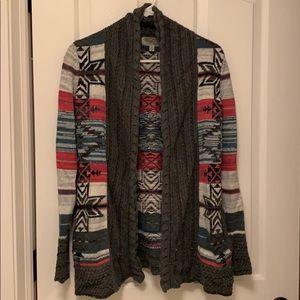 Aztec open front cardigan
